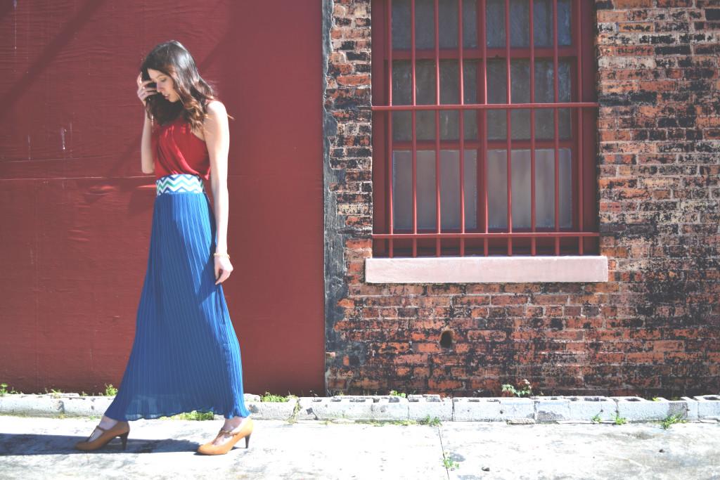 cute blue maxi skirt. KathrynHadel.com