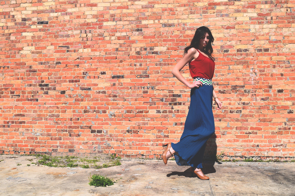 Chic outfit. Blue maxi skirt. KathrynHadel.com
