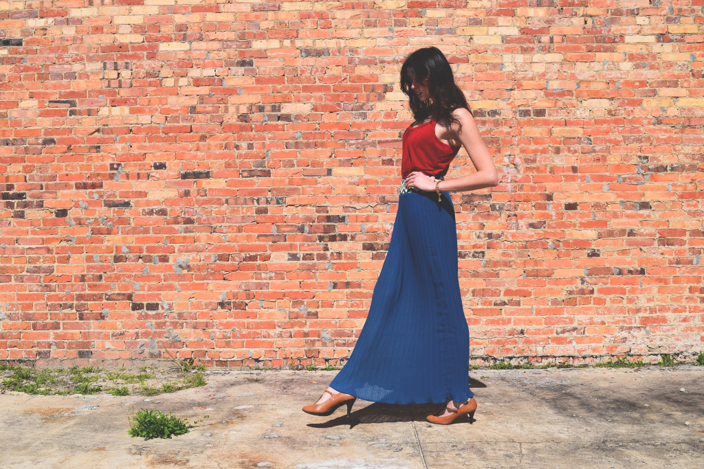 Chic outfit. Long blue skirt. KathrynHadel.com