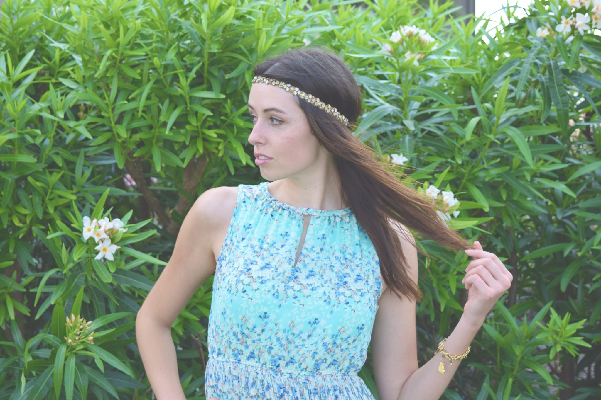 Garden Ethereal~Turquoise Floral Dress