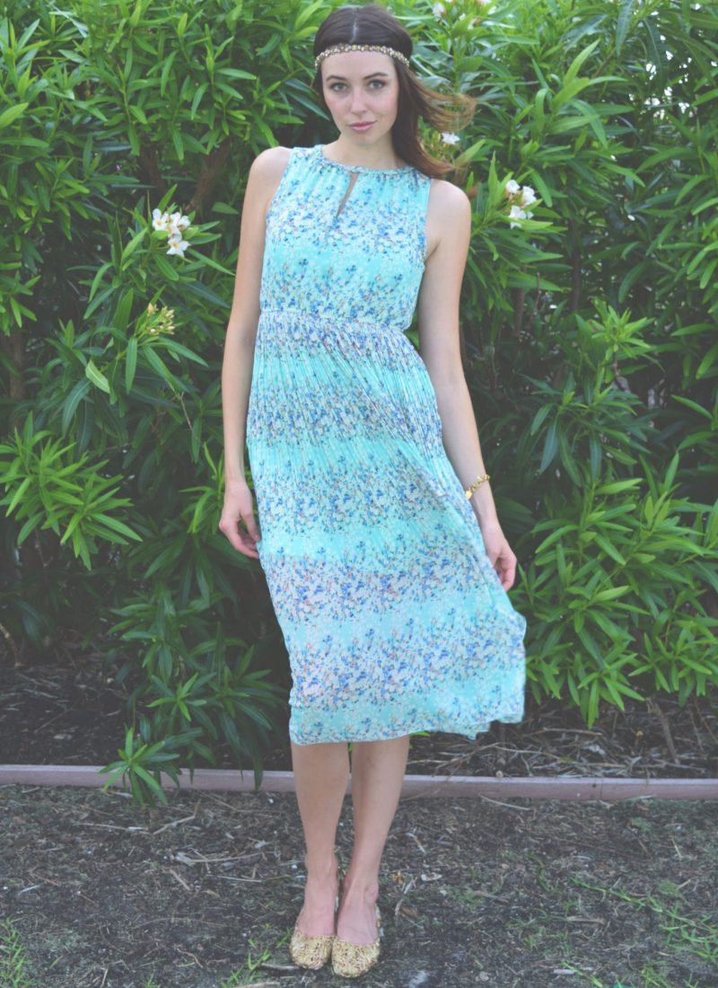 Ethereal Turquoise Floral Dress