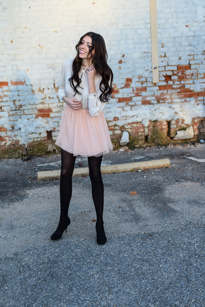 Tulle skirt and leather jacket