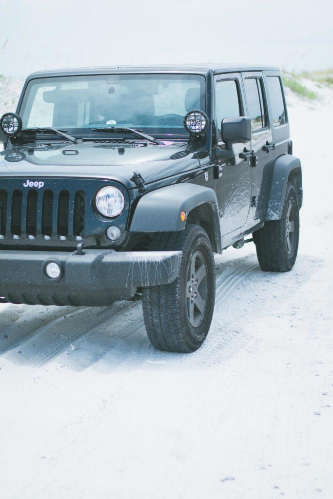 Black jeep on the sand.