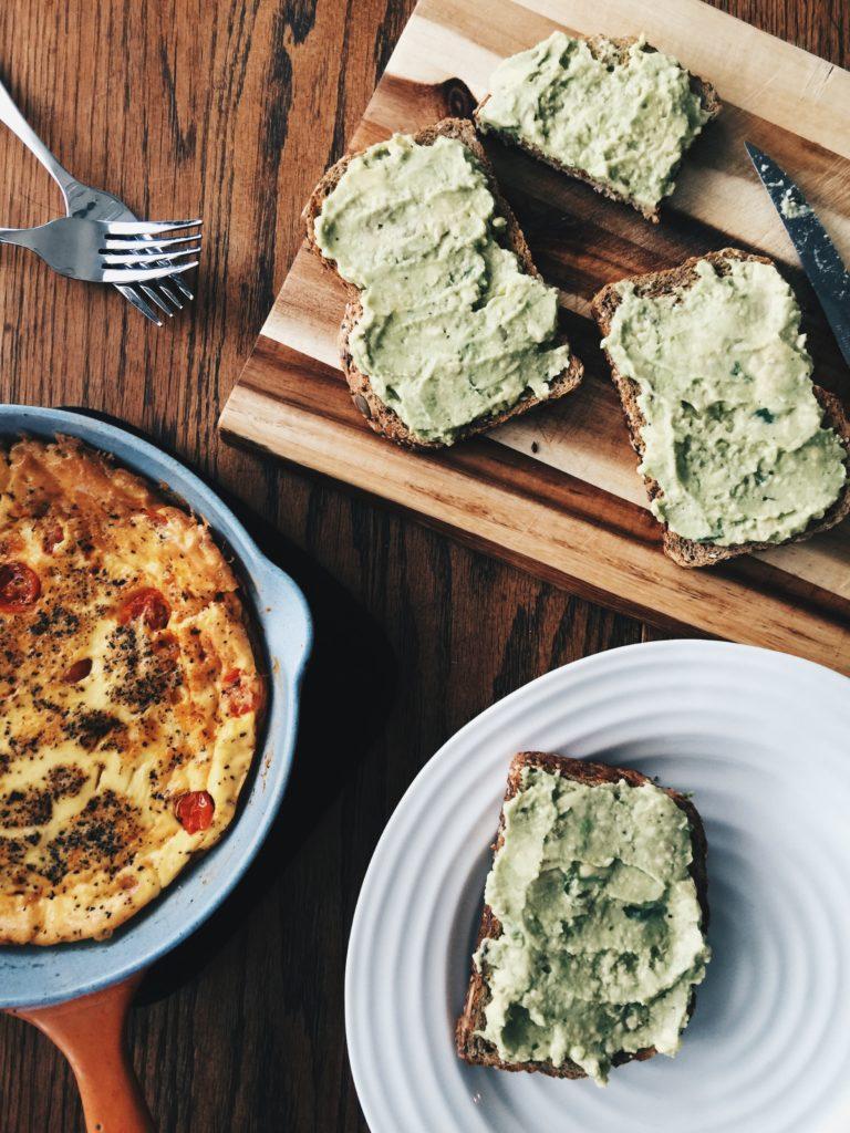 avocado toast and frittata