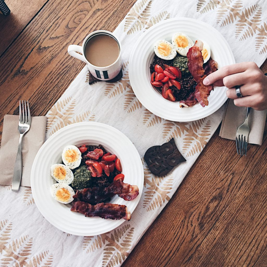 red quinoa and boiled eggs
