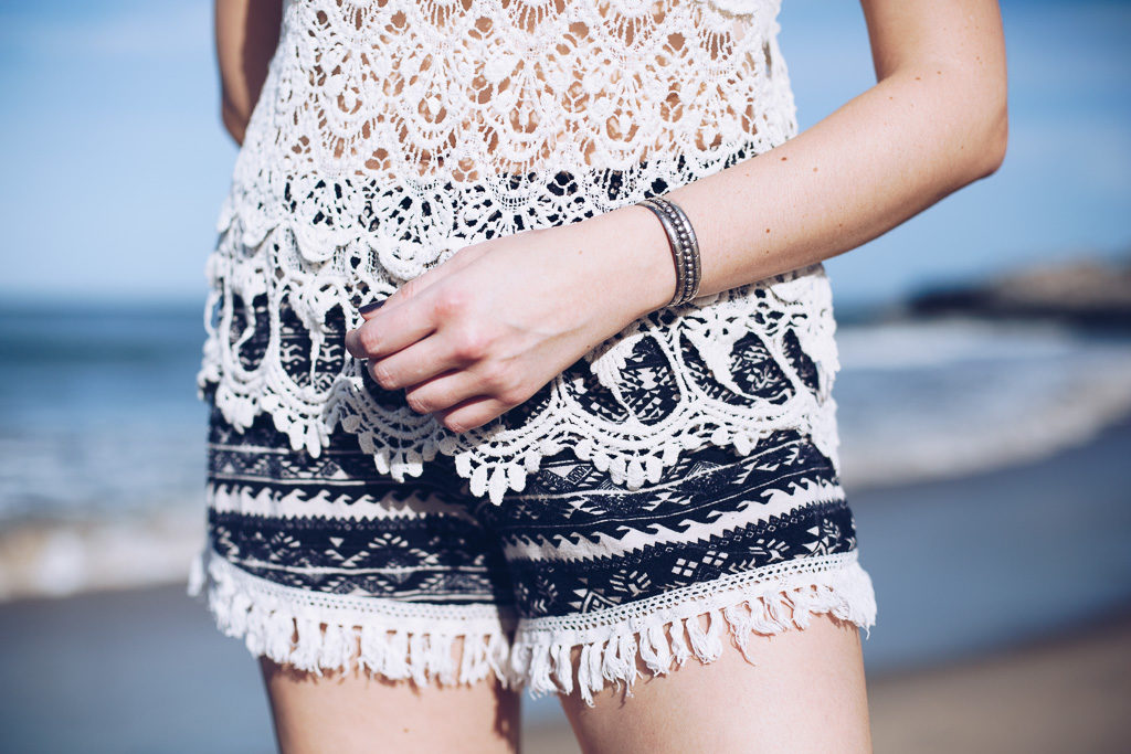 crochet tank top and bohemian shorts