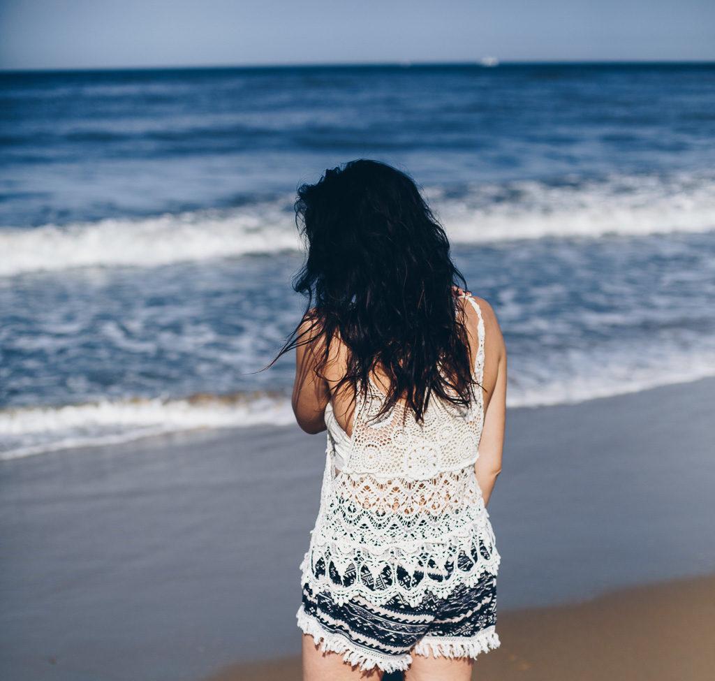 crochet top at the beach