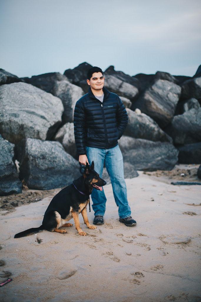 man and his german shepherd