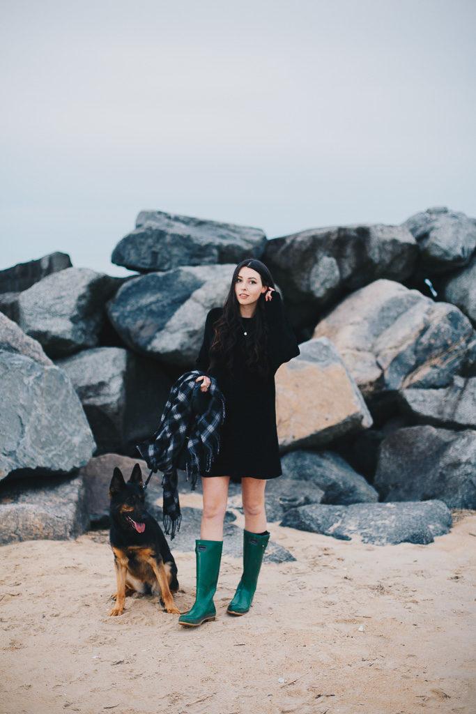 girl and her german shepherd, virginia beach