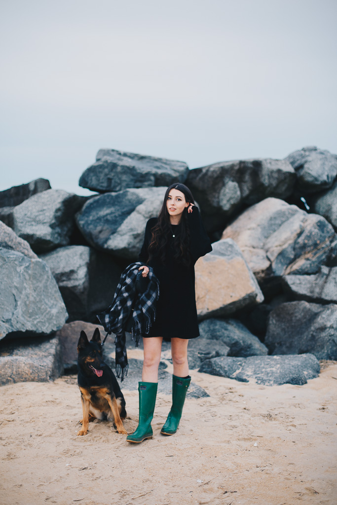 Sunset Walk in a Sweater Dress and Wellies