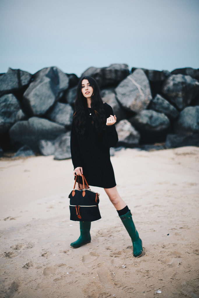 black sweater dress and green hunter boots