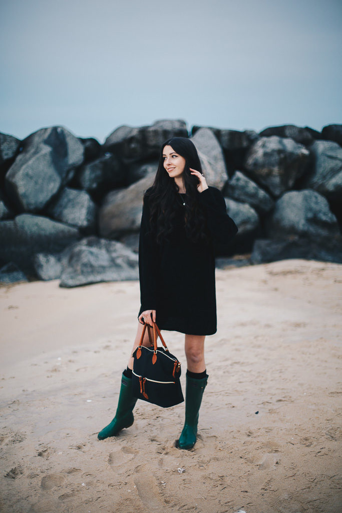 black sweater dress and green wellies