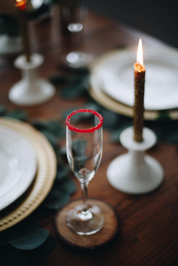 sugar rimmed champagne glass