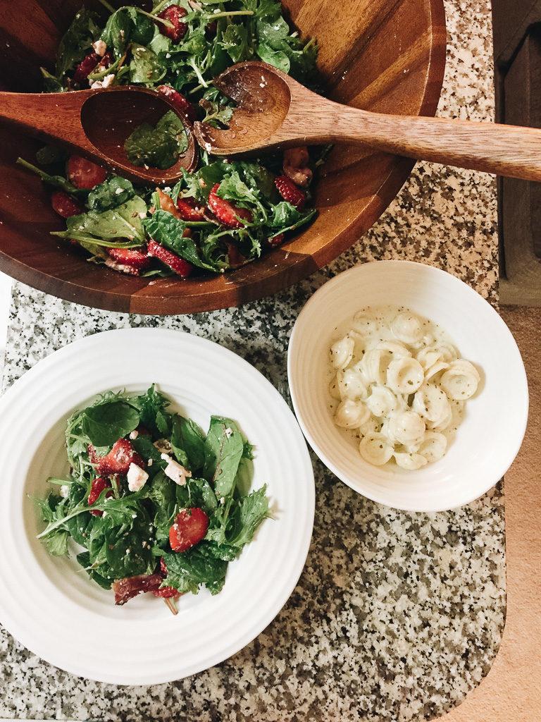 salad and parmesan macaroni