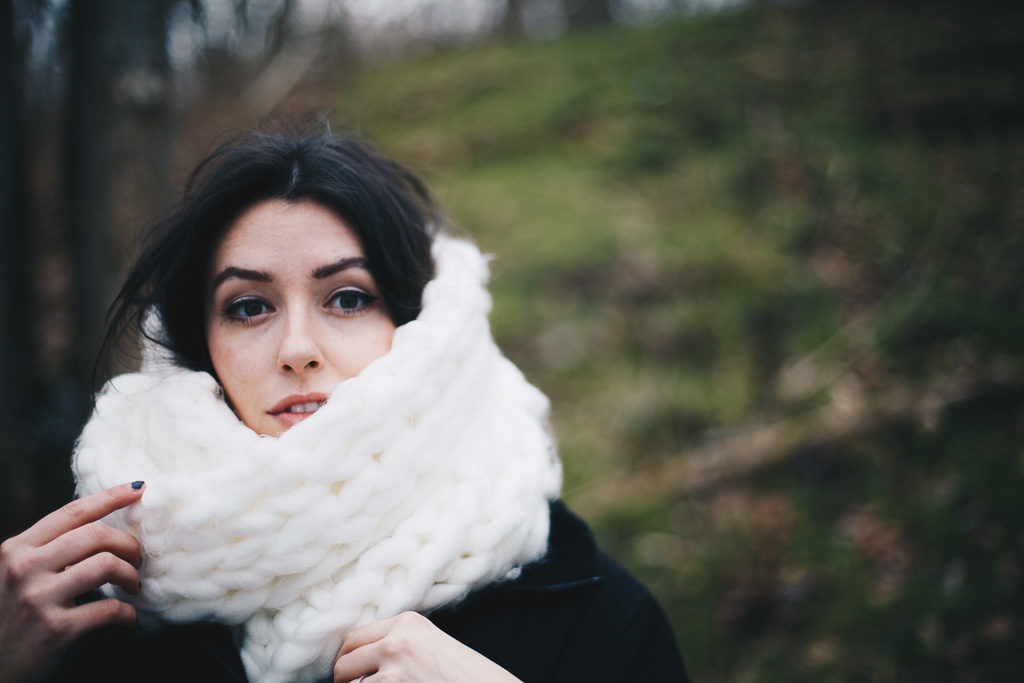 cozy white scarf