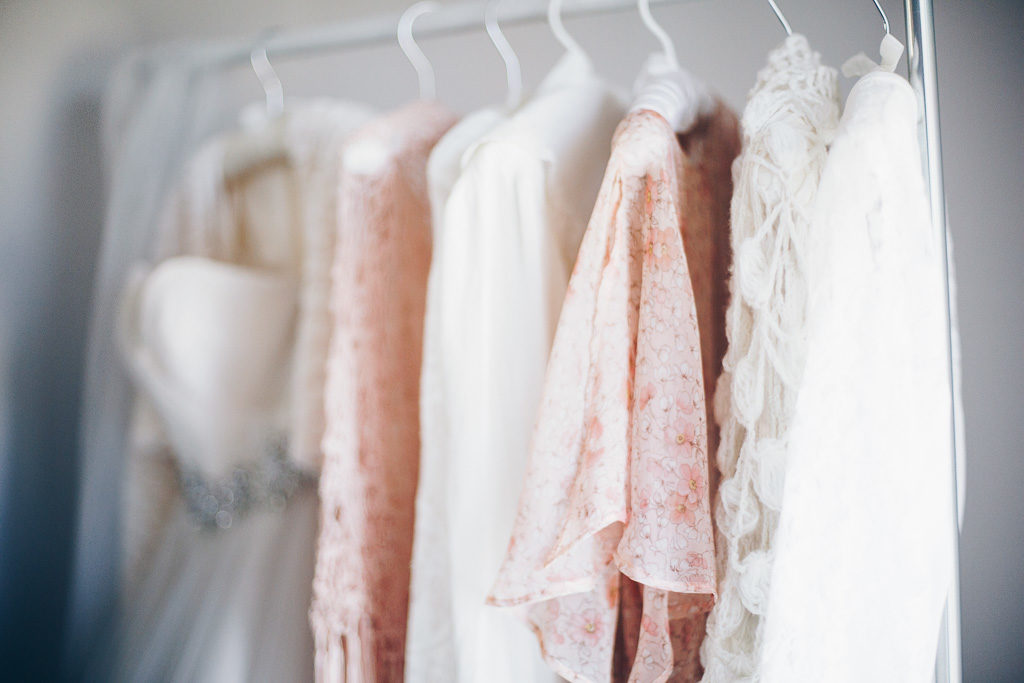 white and blush dresses