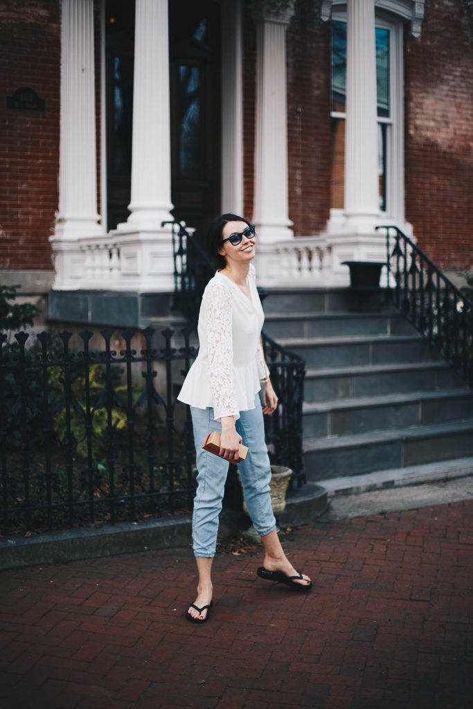 blue lounge pants and white lace peplum top