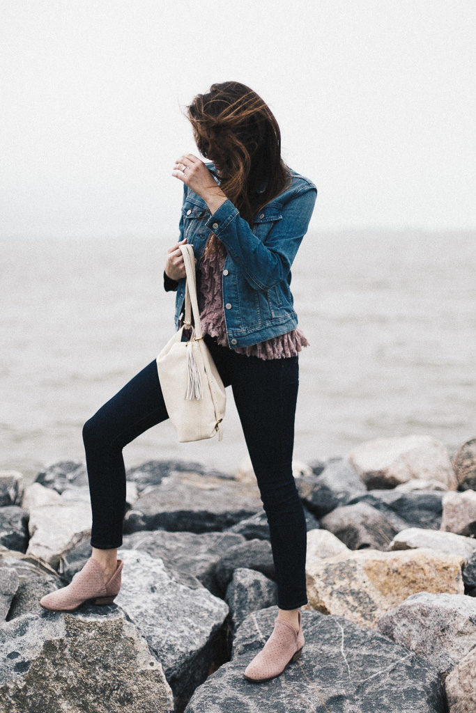 leather bag and denim