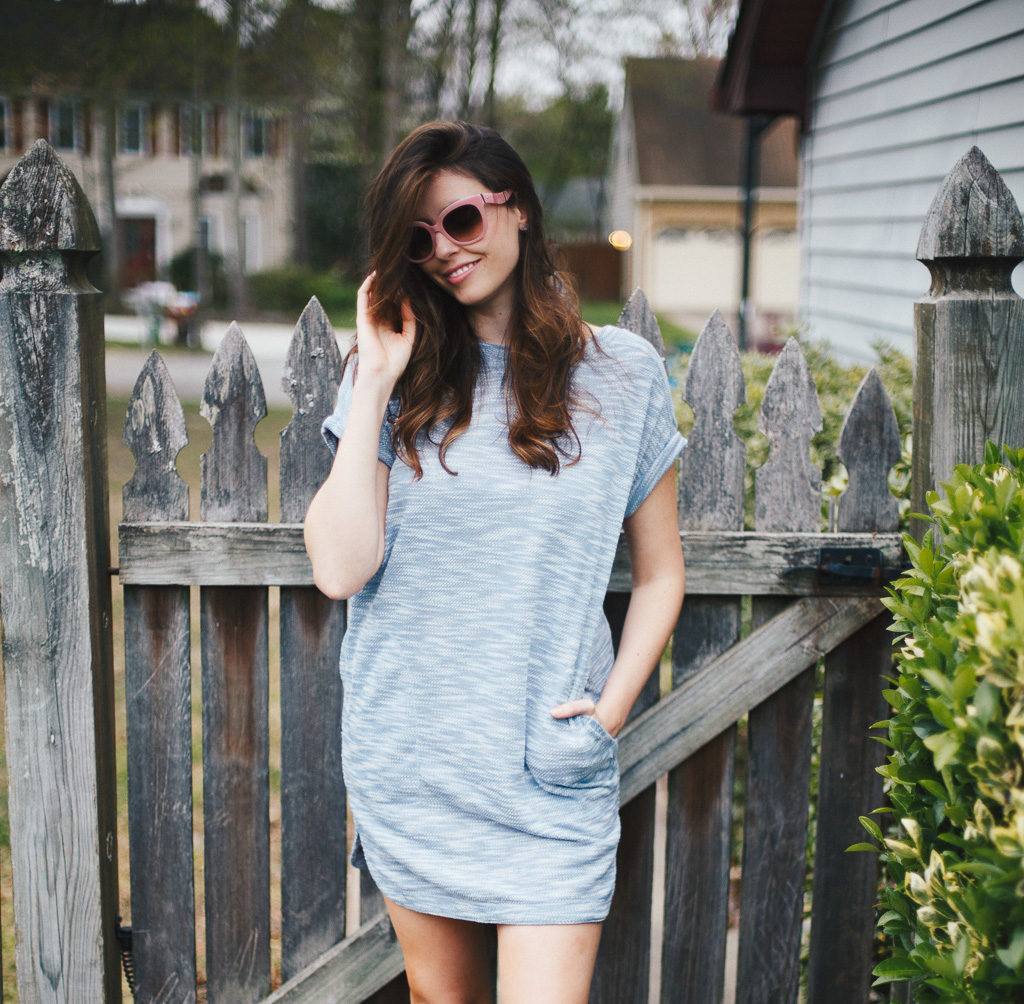 blue knit spring dress