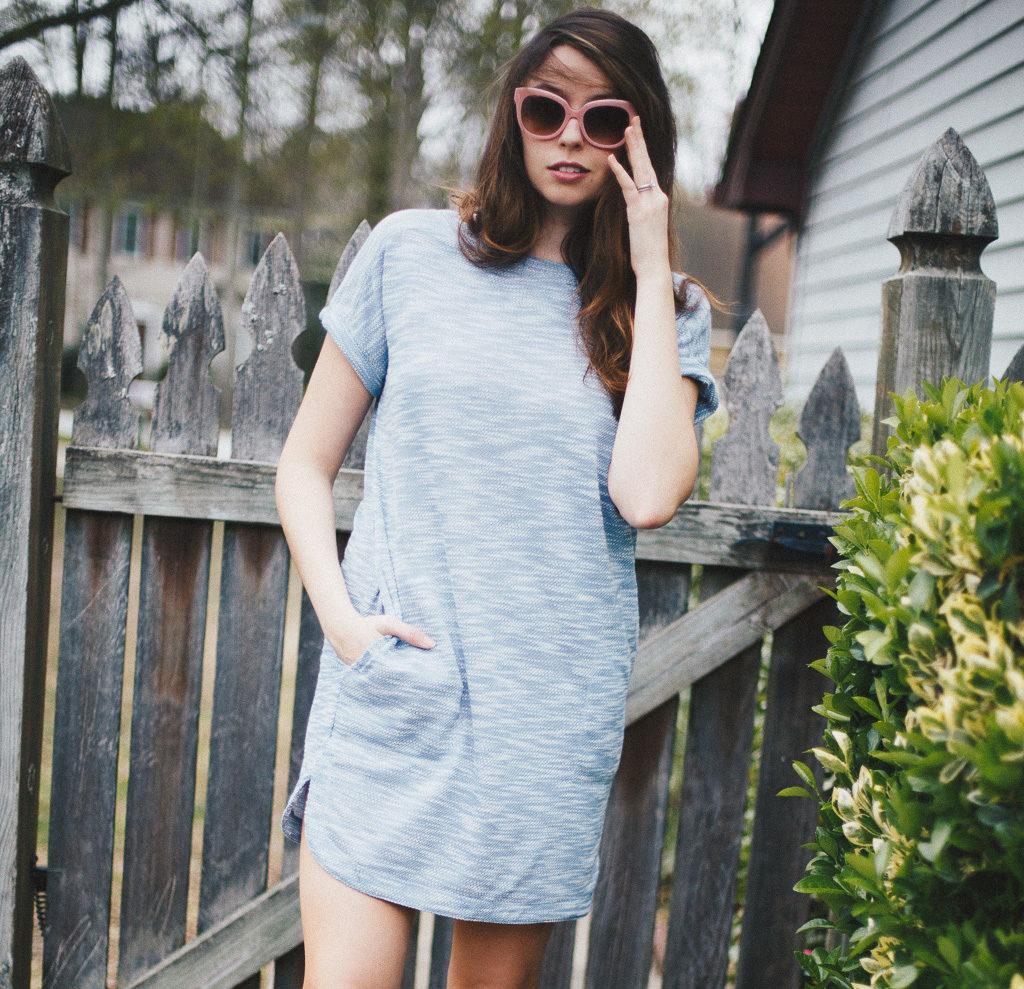Blue knit dress for spring