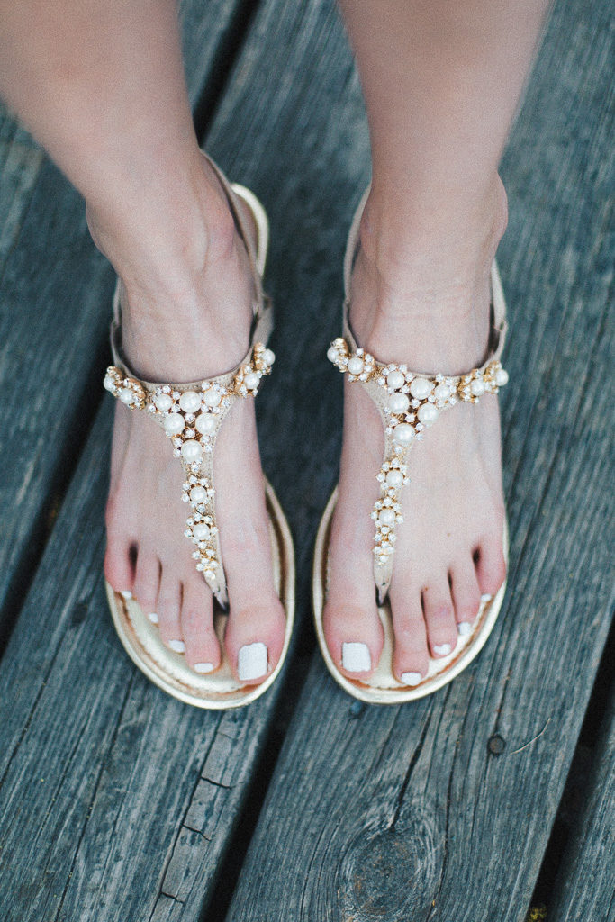 glam sandals with pearls