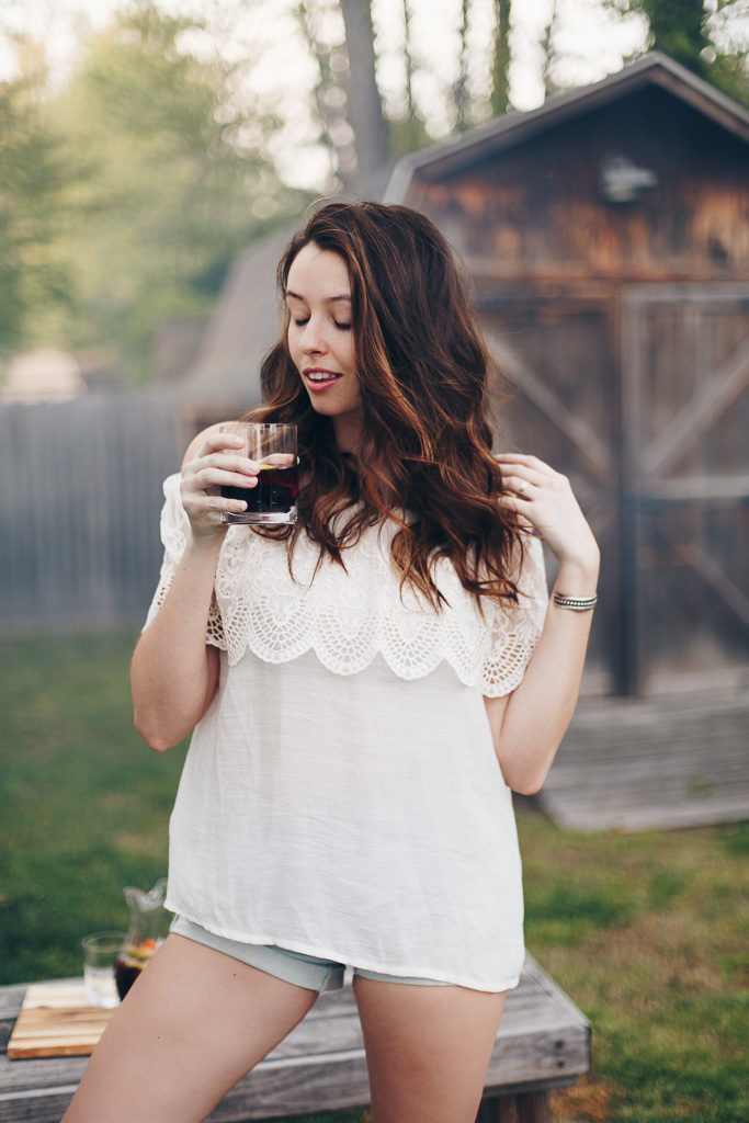 summer style in an off the shoulder shirt