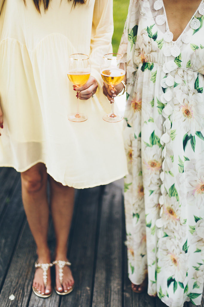 cheers with rose and chic dresses