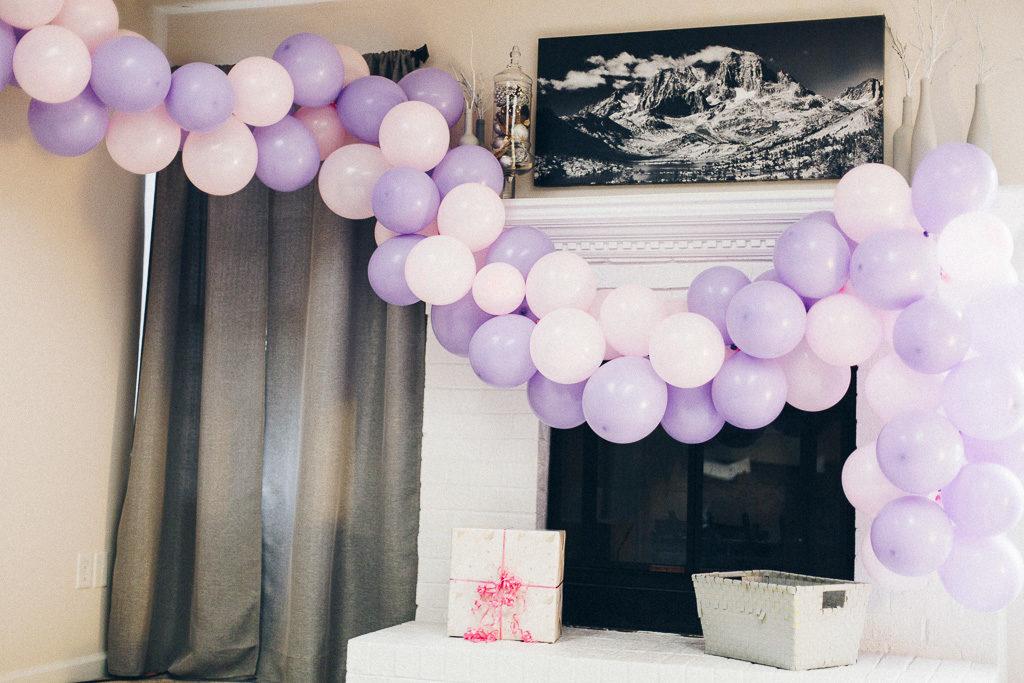 lavender balloon arch