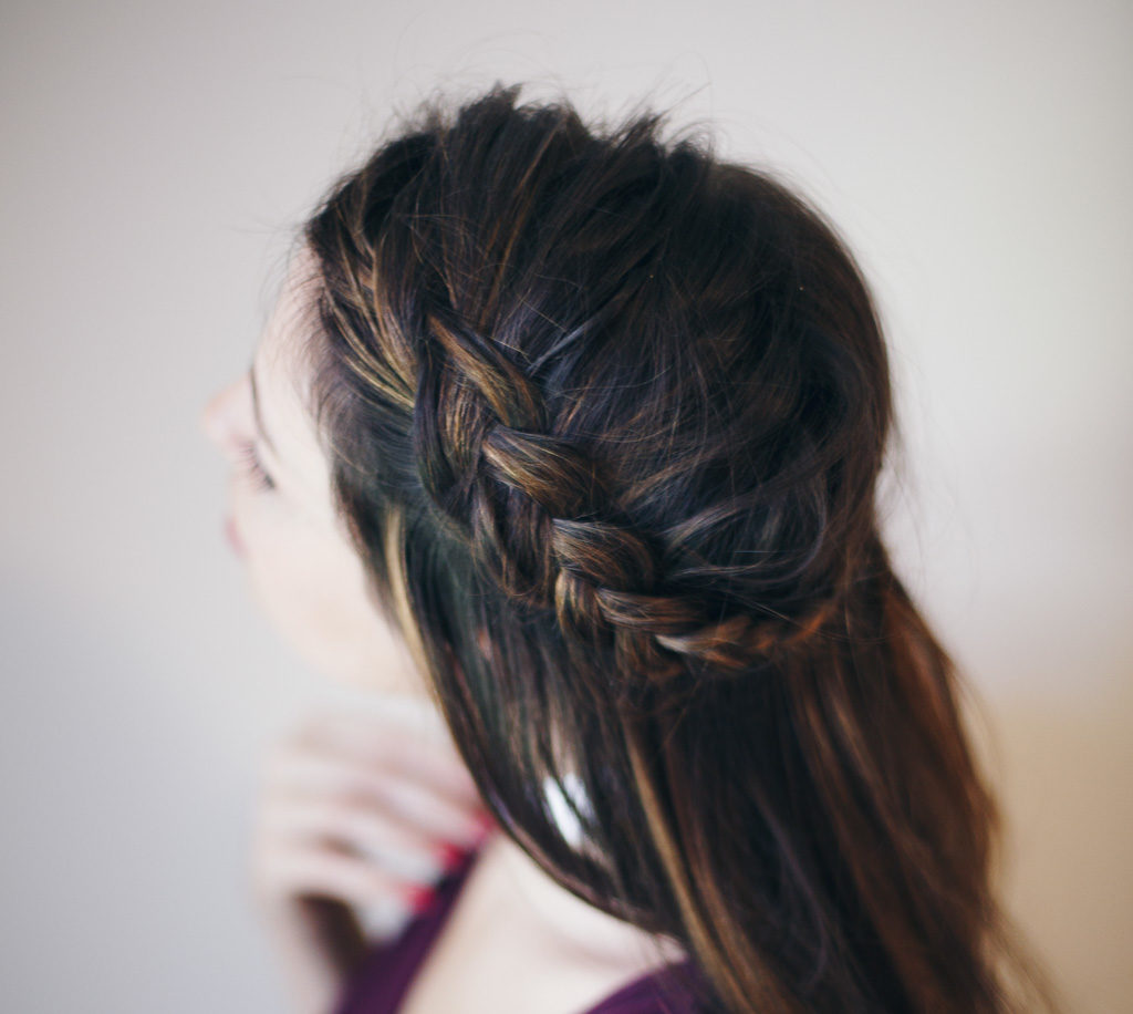 halo braid brunette hair
