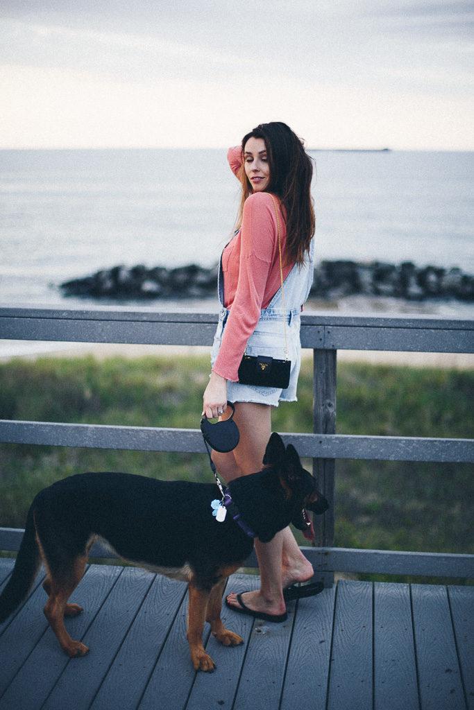 beach overalls and prada