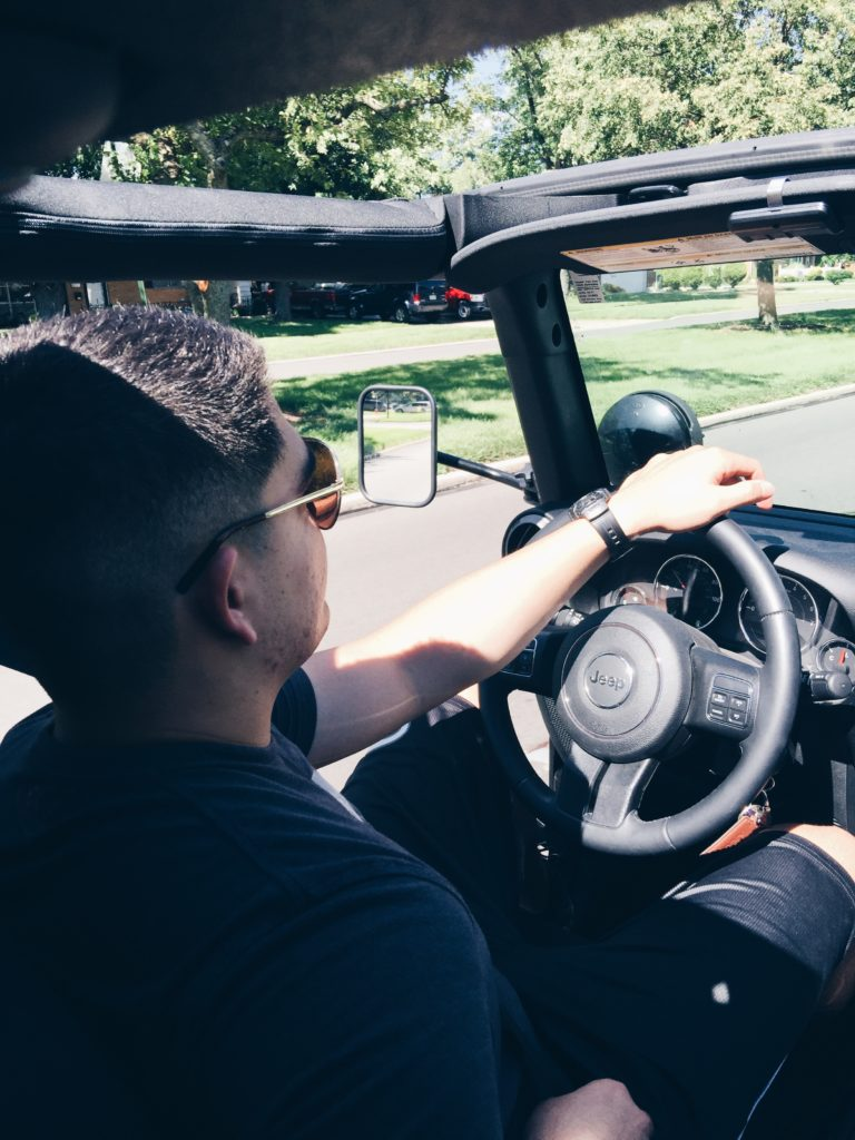 cruising around in a jeep