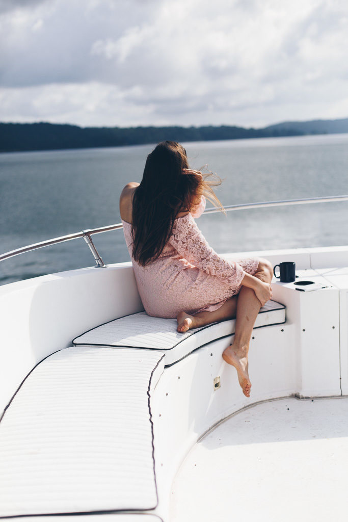 overlooking the water on a boat