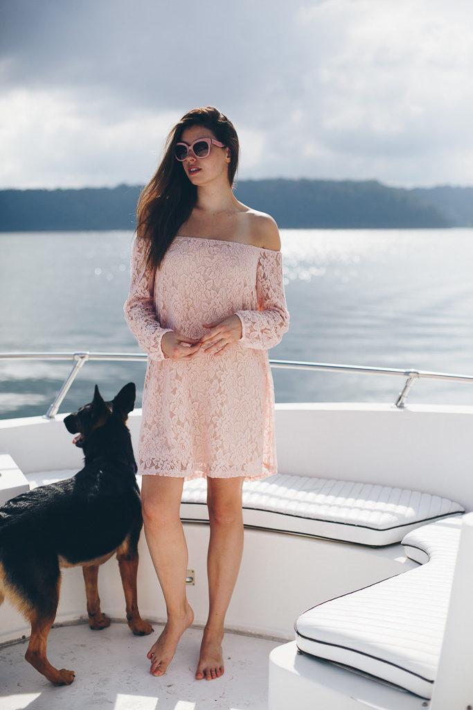 pink dress at the lake
