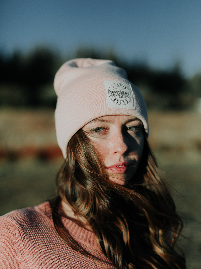 millennial pink knit hat