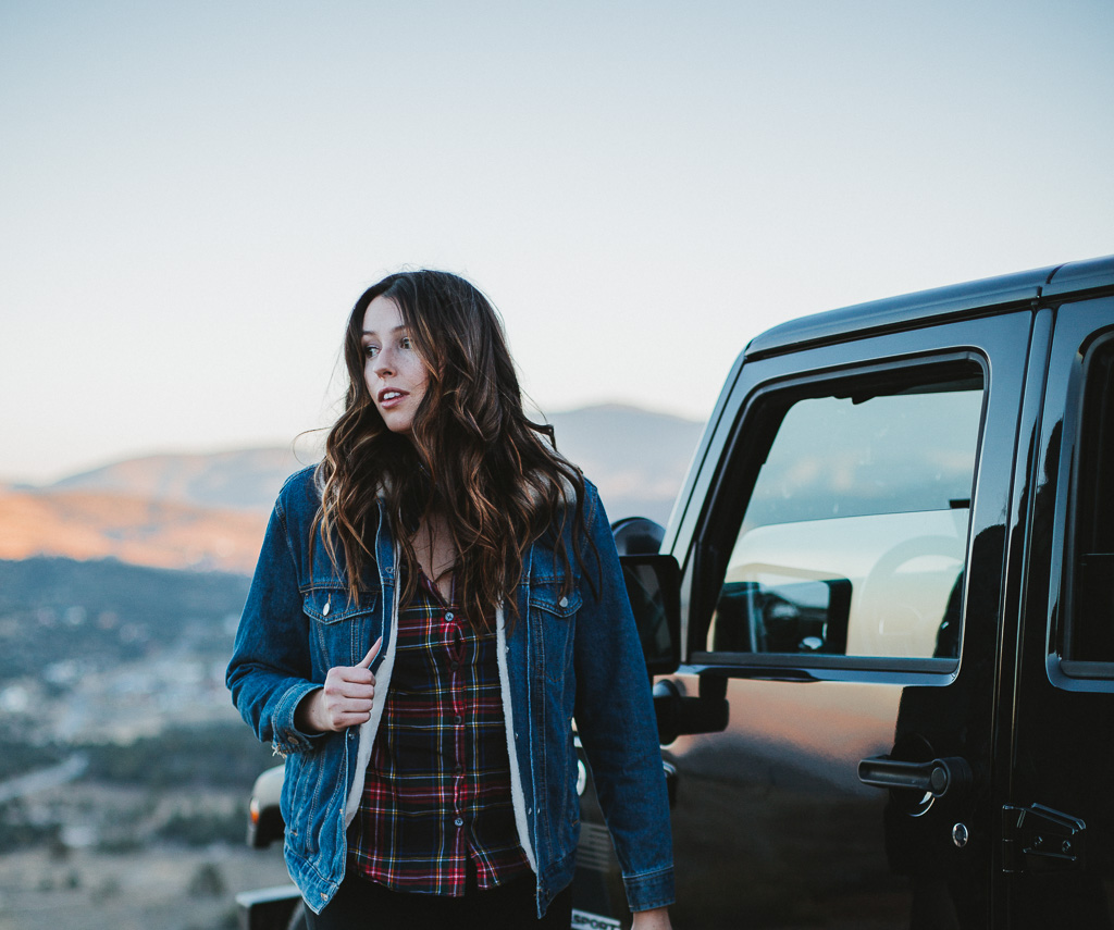 plaid shirt and denim jacket