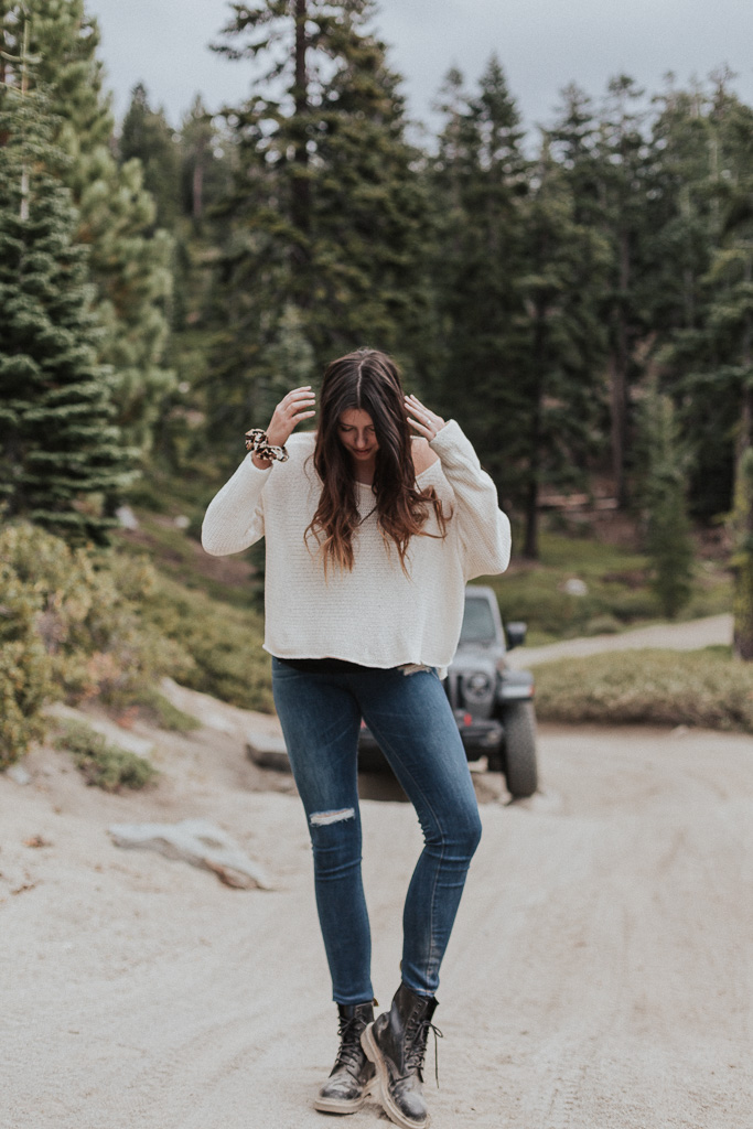 Cozy Fall Sweater + Jeans at Lake Tahoe